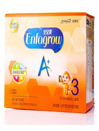 美赞臣(MeadJohnson)3段(12-36个月)安儿宝A+600克X3组合装奶粉