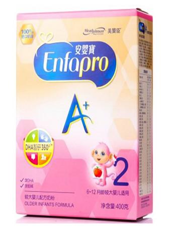 美赞臣(MeadJohnson)2段(6-12月龄较大婴儿适用)安婴宝A+400克盒装奶粉