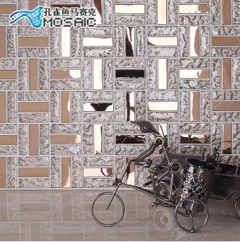 孔雀鱼 不锈钢玻璃马赛克镜面墙贴 瓷砖拼图背景墙TC028