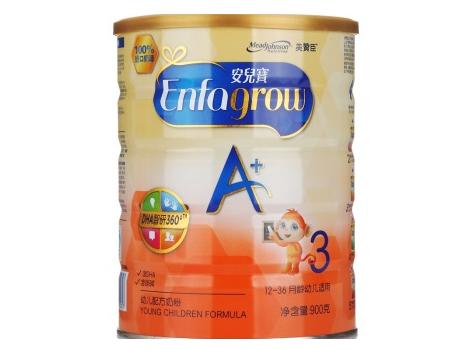 美赞臣(MeadJohnson) 安儿宝A+幼儿配方奶粉 3段(1-3岁幼儿适用) 900克(进口奶源)新包装
