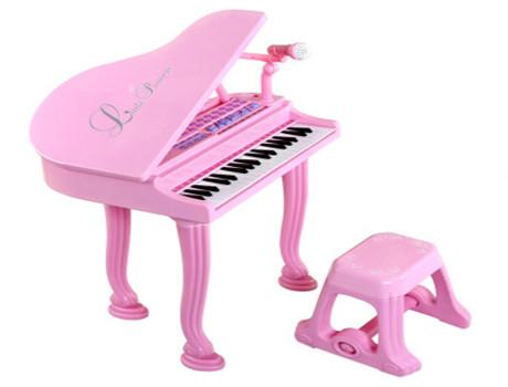 贝恩施 益智玩具儿童电子琴 多功能益智早教乐器玩具琴 带麦克风小凳子 升级版天使钢琴(双供电模式)