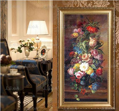 纯手绘有框油画客厅背景画装饰画客厅玄关挂画 竖版欧式壁画花卉