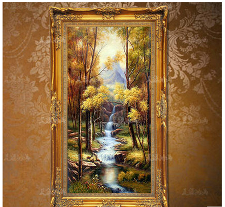油画客厅装饰画欧式玄关竖版过道走廊壁画酒店手绘风景聚宝盆挂画