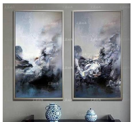赵无极抽象油画客厅装饰画现代简约壁画卧室玄关手绘灰色挂画