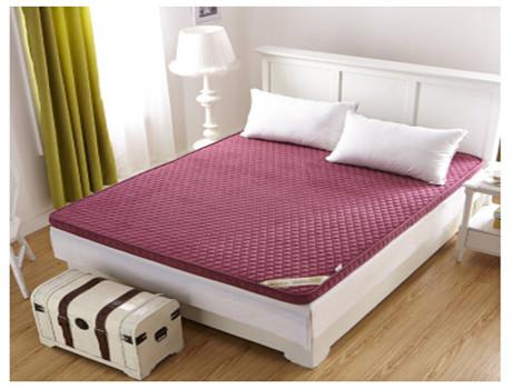 立体加厚6cm竹炭纤维床垫床褥子 酒红色