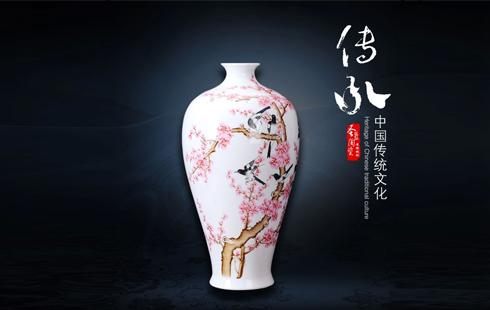 古玩古董景德镇陶瓷器 高档名人手绘喜上眉梢落地大