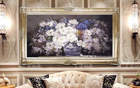 装饰壁画手绘油画装饰画客厅欧式花卉现代时尚沙发背