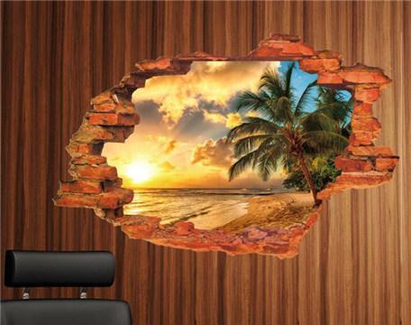 3D立体墙贴客厅贴画墙壁贴纸卧室床头创意房间装饰品风景墙画背景