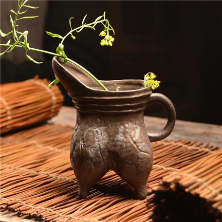 手工粗陶摆件 釉艺创意水培花插复古家居饰品 小花器禅意茶道花瓶