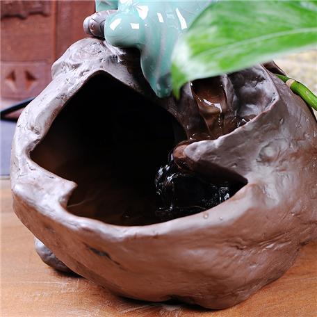 陶瓷流水器摆件 乔迁开业礼品客厅桌面加湿器鱼缸摆设招财风水轮