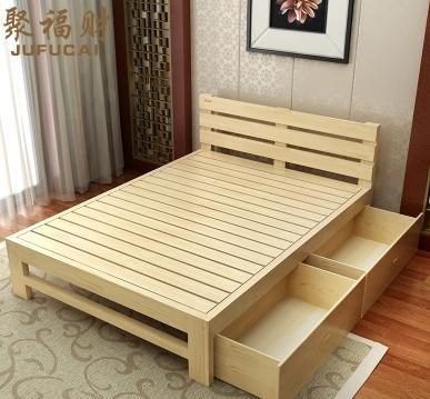全实木双人床1.5 1.8松木床抽屉床简约木床单人床
