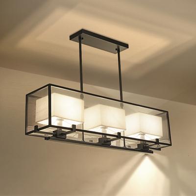 新中式吊灯l创意客厅灯仿古铁艺餐厅吊灯大气吧台长方形灯具