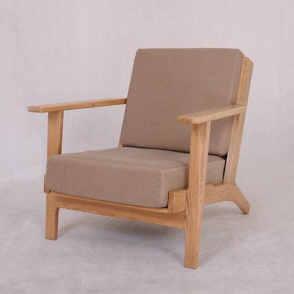 基鸿家居 实木家具 实木单人沙发 橡木休闲/懒人沙发 现货包物流