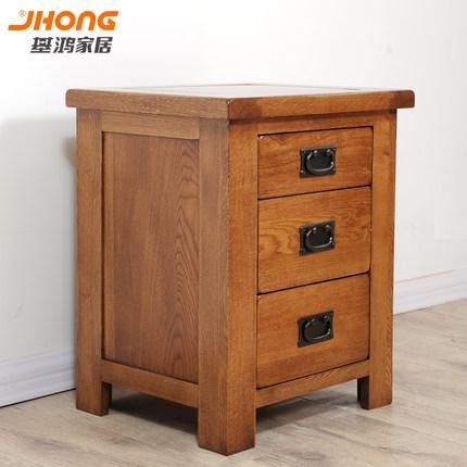 基鸿纯实木床头柜 卧室置物柜白橡木三斗柜橡木环保