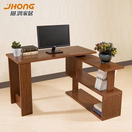 基鸿转角旋转电脑桌时尚书柜组合台式家用带书架简约现代简易书桌