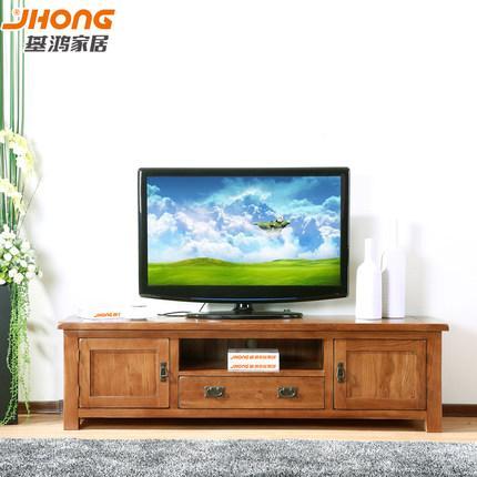 基鸿 电视柜 实木1.8米全白橡木家具客厅1.5电视机柜组合地柜特价