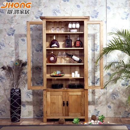 基鸿家居 两门书柜 纯实木全橡木 两门带隔板 玻璃门 欧式仿古