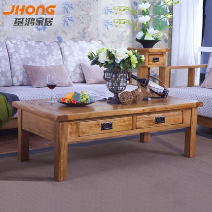 基鸿家居 全实木茶几乡村白橡木客厅家具带抽屉咖啡桌环保