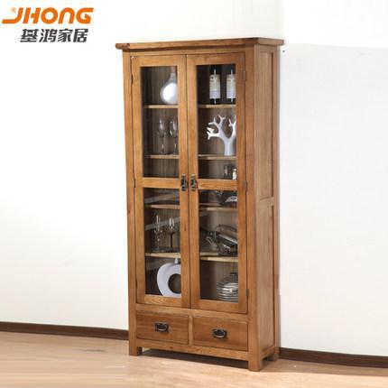 基鸿家居 全实木书架特价进口白橡木书房家具玻璃门抽屉书柜