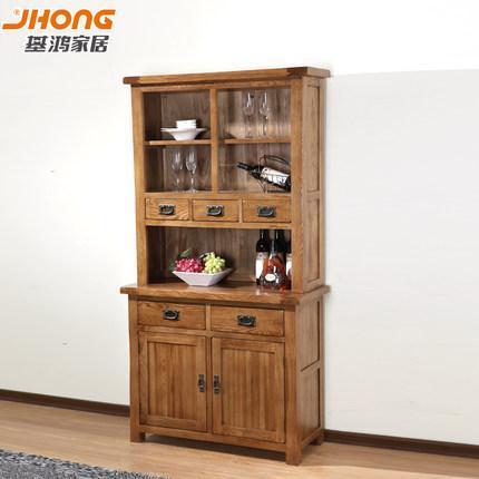 基鸿家居 实木餐边柜橡木碗柜组合展示柜简约储物柜环保家具