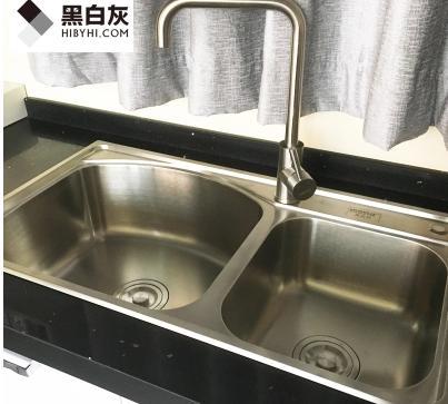 黑白灰水槽双槽加厚厨房304不锈钢台下手工水槽洗菜盆大水池套餐