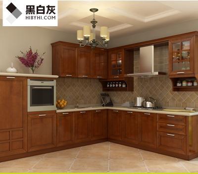 黑白灰整体橱柜定制简约田园风格实木门板石英石台面厨房装修定做