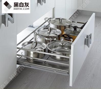 黑白灰家居定制 香槟玫瑰系列厨房扁线平篮橱柜拉篮 配阻尼导轨