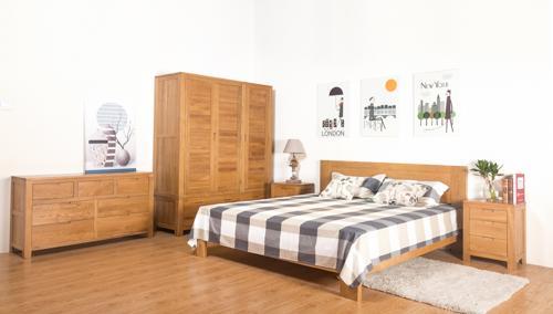 维莎日式1.5/1.8米纯实木白橡木双人床环保卧室家具欧式现代简约