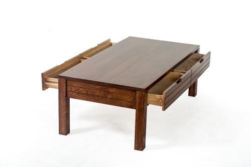 源氏木语纯实木茶几橡木胡桃木色抽屉咖啡桌简约小美现代客厅家具