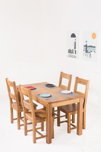 源氏木语 纯实木餐桌椅组合北欧现代简约白橡木一桌四椅饭桌组合