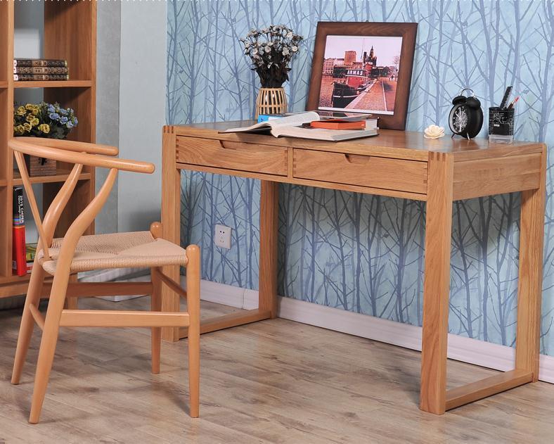 基鸿家具实木办公桌白橡木书桌写字台带抽屉可当台式电脑桌