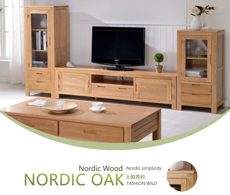家酉家具纯实木橡木电视柜抽屉储物斗橱北欧式简约电视柜边柜窄斗柜家具