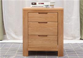 家酉家具进口白橡木床头柜柜橱简约现代橡木带抽屉储物柜卧室家具