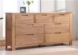家酉家具进口白橡木七斗柜橱简约现代橡木带抽屉储物柜卧室家具