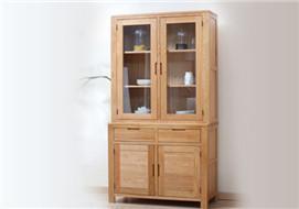 家酉家具进口白橡木餐边柜实木碗柜碗橱玻璃门书橱书架展示柜书房家具木简约现代