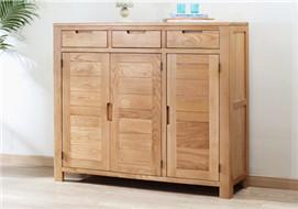 家酉家具纯实木三门鞋柜橡木玄关柜隔断柜储物柜北欧简约客厅家具 三门大容量