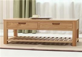 家酉家具纯全实木茶几客厅家具欧式环保橡木茶水桌四抽咖啡桌新品