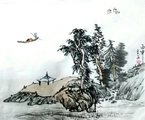 王寒山水人物画